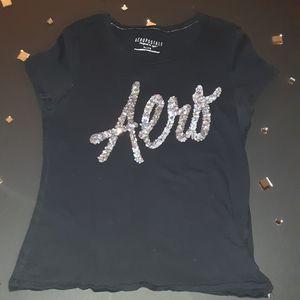 Aeropostale| T shirt black| with |sequin| logo